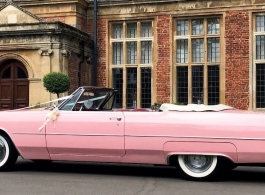 Classic Pink Convertible Cadillac for weddings in London